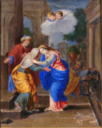 The Madonna taking leave of her parents - Roman school 17th century (a pair)